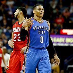 Dec 21, 2016; New Orleans, LA, USA;  Oklahoma City Thunder guard Russell Westbrook (0) gestures after hitting a three point basket against the New Orleans Pelicans during the second half of a game at the Smoothie King Center. The Thunder defeated the Pelicans 121-110. Mandatory Credit: Derick E. Hingle-USA TODAY Sports