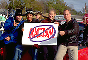 Friends with antiracism sign at Anoka Halloween Festival age 19.  Anoka Minnesota USA