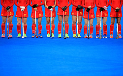 A general view of China's players lining up prior to the match
