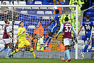 Clayton Donaldson of Birmingham City (centre) heads into the Aston Villa net only to see his effort disallowed during the Sky Bet Championship match at St Andrews, Birmingham<br /> Picture by Andy Kearns/Focus Images Ltd 0781 864 4264<br /> 30/10/2016