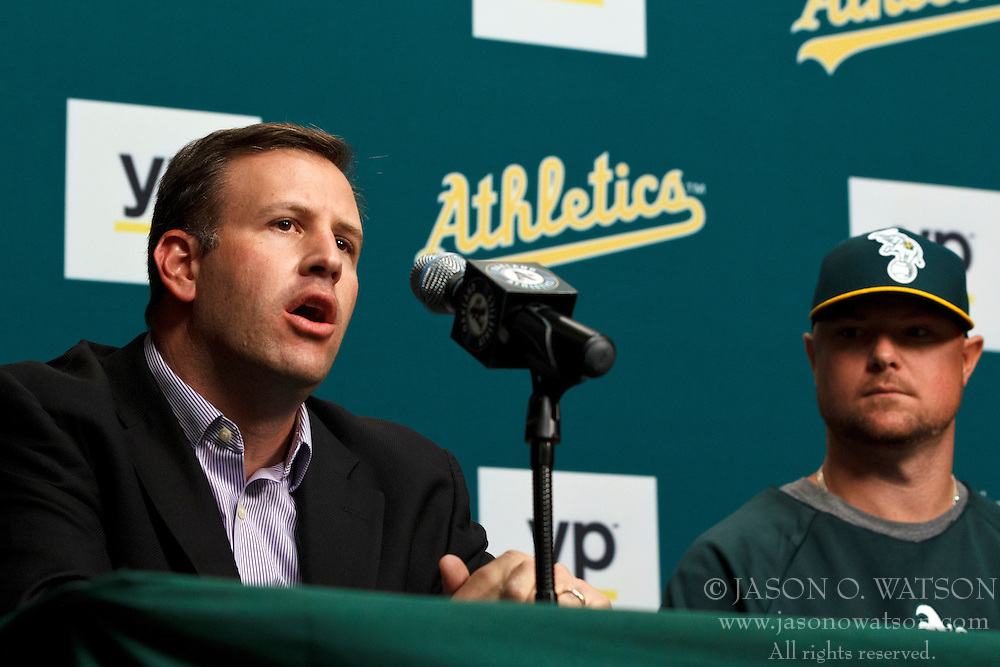 OAKLAND, CA - AUGUST 01:  Assistant general manager David Forst of the Oakland Athletics speaks next to Jon Lester #31 during a press conference before the game against the Kansas City Royals at O.co Coliseum on August 1, 2014 in Oakland, California. (Photo by Jason O. Watson/Getty Images) *** Local Caption *** David Forst; Jon Lester