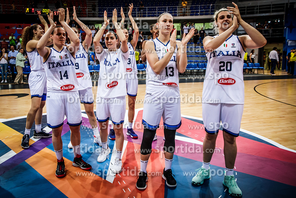 Martina Crippa of Italy, Caterina Dotto of Italy, Valeria de Pretto of Italy and Elisa Ercoli of Italy celebrate after winning during basketball match between Women National teams of Italy and Slovenia in Group phase of Women's Eurobasket 2019, on June 30, 2019 in Sports Center Cair, Nis, Serbia. Photo by Vid Ponikvar / Sportida