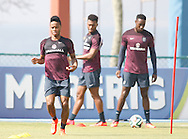 Raheem Sterling of England in action with Daniel Sturridge of England and Danny Welbeck of England in the background during the England open training session at Est&aacute;dio Claudio Coutinho, Urca, Rio de Janeiro<br /> Picture by Andrew Tobin/Focus Images Ltd +44 7710 761829<br /> 16/06/2014