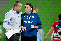 Coach Bosny Jan and Ranikova of Czech Republic during handball match between Women National Teams of Slovenia and Czech Republic of 4th Round of EURO 2012 Qualifications, on March 25, 2012, in Arena Stozice, Ljubljana, Slovenia. (Photo by Urban Urbanc / Sportida.com)