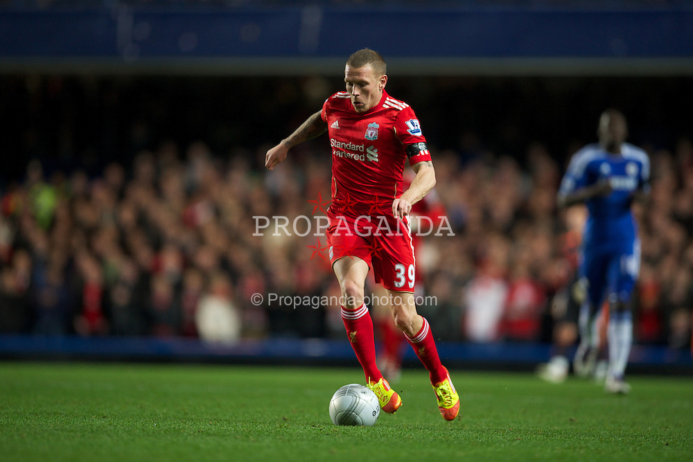 LONDON, ENGLAND - Tuesday, November 29, 2011: Liverpool's Craig Bellamy in action against Chelsea during the Football League Cup Quarter-Final match at Stamford Bridge. (Pic by David Rawcliffe/Propaganda)
