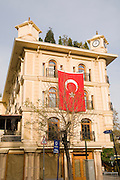Turkey, Istanbul, A flag on a building in Ordu Caddesi