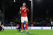Ashley Fletcher (11) of Middlesbrough applauds the travelling fans at full time during the EFL Sky Bet Championship match between Fulham and Middlesbrough at Craven Cottage, London, England on 17 January 2020.