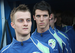 Rene Mihelic (10) and Vito Plut of Slovenia before Friendly match between U-21 National teams of Slovenia and Romania, on February 11, 2009, in Nova Gorica, Slovenia. (Photo by Vid Ponikvar / Sportida)