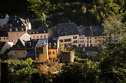 VIANDEN, LUXEMBOURG - SEPT-9-2012 - The sun rises over the picturesque village of Vianden, in Luxembourg, near the German border. (Photo © Jock Fistick)