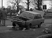 Bomb Attack On Dr Jim Donovan.  (P8)..1982..06.01.1982..01.06.1982..6th January 1982..This morning Dr Jim Donovan, Senior Forensic Scientist with the Garda Technical Bureau, was critically injured when a bomb planted in his car exploded. Due to his ongoing investigative work, it is suspected that there may be an IRA or Dublin criminal gang involvement in the attack...Image shows the devastation to the car which was being driven by Dr Donovan when the bomb exploded.