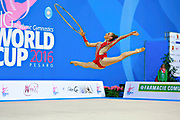 Valente Rafaela during qualifying at hoop in Pesaro World Cup 01 April 2016. Rafaela is a gymnast from Portugal. She is born in Almada, 1998.