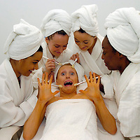 Castmembers from the King's Theatre production, South Pacific get pampered at Beauty Network, a beauty salon in Hamilton..L-R Natasha Lewis (28) from London, Sue Appleby (29) from London, Nia Jermin (21) from Swansea, Michelle Cornelius (25) from London give a treatment to Emily Alexander (24) from Halifax.