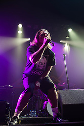 © Licensed to London News Pictures. 28/10/2012. London, UK.   Whitfield Crane of Ugly Kid Joe performing live at Wembley Arena supporting Alice Cooper  as part of Alice Cooper's Halloween Night of Fear.  Ugly Kid Joe is an American rock band from Isla Vista, California, formed in 1990. The band's name spoofs that of another band, Pretty Boy Floyd. Ugly Kid Joe's sound includes a range of styles, including hard rock, funk metal and heavy metal..To date, Ugly Kid Joe has released three full-length albums, two compilation albums and two EPs. Their best selling records are As Ugly as They Wanna Be (1991) and America's Least Wanted (1992), which were both certified double platinum by the RIAA; the former is notable for being the first EP to go platinum.[2] The band broke up in 1997, but announced a reunion in 2010.  Photo credit : Richard Isaac/LNP