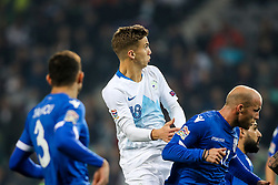 Luka Zahovic of Slovenia and Andreas Avraam of Cyprus during football match between National Teams of Slovenia and Cyprus in Final Tournament of UEFA Nations League 2019, on October 16, 2018 in SRC Stozice, Ljubljana, Slovenia. Photo by  Morgan Kristan / Sportida