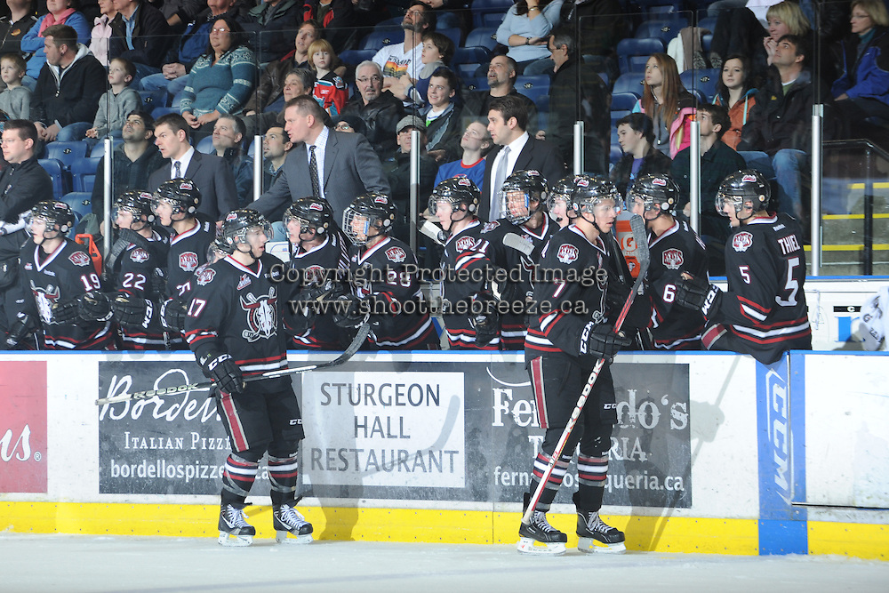 KELOWNA, CANADA - FEBRUARY 18: The Red Deer Rebels celebrate a goal against the Kelowna Rockets as the Red Deer Rebels  visit  the Kelowna Rockets on February 18, 2012 at Prospera Place in Kelowna, British Columbia, Canada (Photo by Marissa Baecker/Shoot the Breeze) *** Local Caption ***
