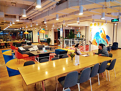 April 16, 2020, Shanghai, Shanghai, China: Shanghai,CHINA-April 15, 2020 - Shared office space startup WeWork plans to continue cutting jobs at the end of may after being hurt by softbank's decision to abandon a  billion shareholder stock offer. The picture shows that on January 8, 2020, the headquarters of WeWork in greater China and the largest WeWork Shared office space in China are located in the zhonghai international center under China overseas real estate co., LTD. (CSCL) in huangpu district, Shanghai, aiming to create a comfortable working environment for office workers and freelers with super spacious public areas and creative architectural design. (Credit Image: © SIPA Asia via ZUMA Wire)