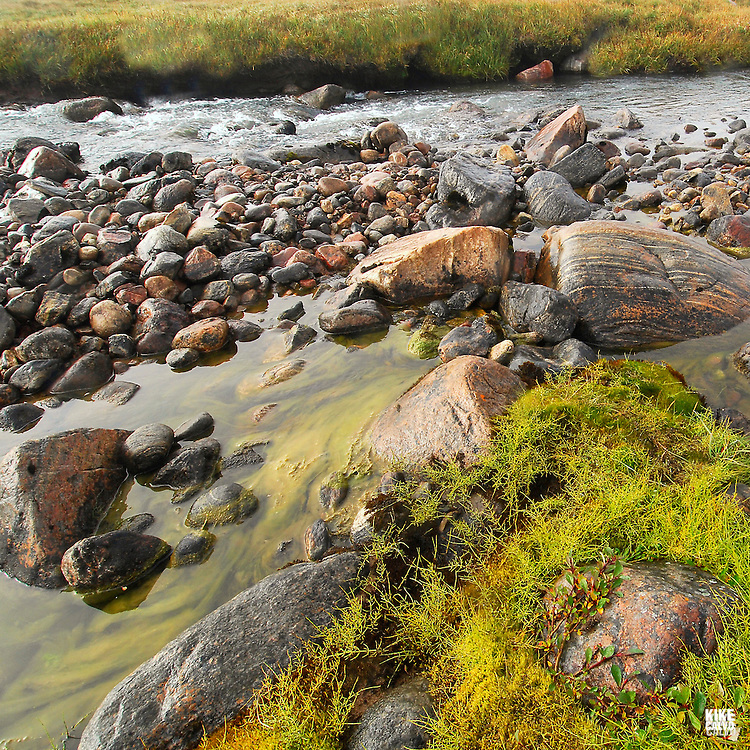 Thule archaelogical site at Salmon Creek. Pond Inlet, Baffin Island. High Arctic. Canada.( isolated, remote, tourist, hike, hiking, foggy, weather, rock, rockly. tongue, river, beach,