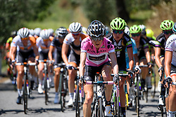 Race leader, Mara Abbott (Wiggle High5) at Giro Rosa 2016 - Stage 6. A 118.6 km road race from Andora to Alassio, Italy on July 7th 2016.