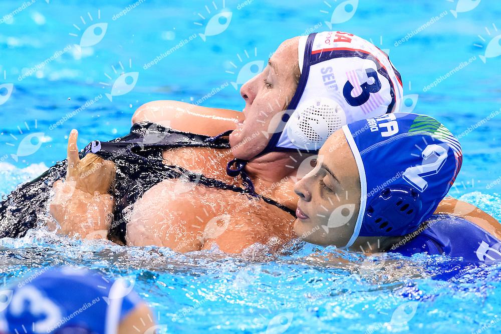 SEIDEMANN Melissa USA, TABANI Chiara ITALIA <br /> Rio de Janeiro 19-08-2016 Olympic Aquatics Stadium  - Water Polo <br /> USA - ITALY Final <br />  Foto Andrea Staccioli/Deepbluemedia/Insidefoto