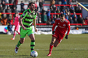 Forest Green Rovers Farrend Rawson(20) runs forward during the EFL Sky Bet League 2 match between Accrington Stanley and Forest Green Rovers at the Wham Stadium, Accrington, England on 17 March 2018. Picture by Shane Healey.