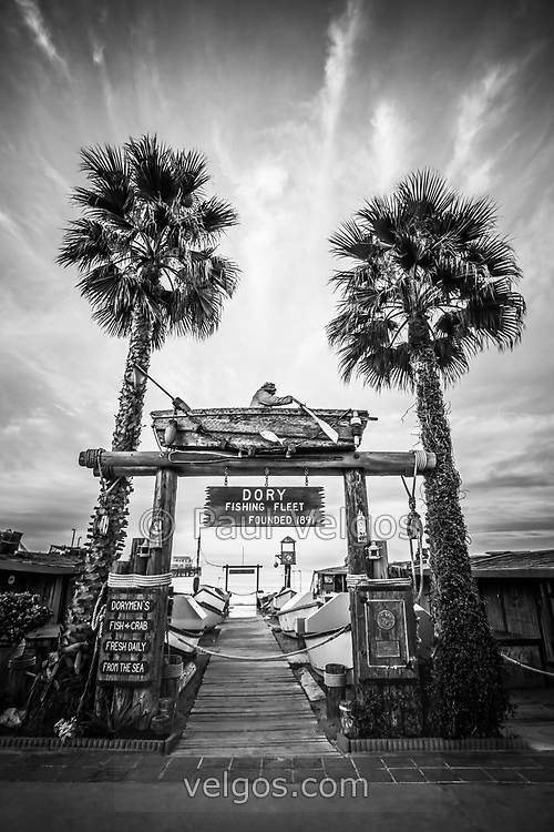 Dory Fishing Fleet Market Black and White Picture in Newport Beach California. The Dory Fishing Fleet is a historic seafood market by Newport Pier on Balboa Peninsula on America's West Coast in California. For my full portfolio visit http://www.velgos.com