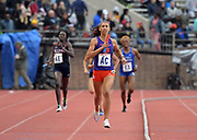 Apr 27, 2018; Philadelphia, PA, USA; Kamryn McIntosh runs the 800m anchor leg on the Clemson women's 1,600m sprint medley relay that won the Championship of America race in 3:45.05  during the 124th Penn Relays at Franklin Field.