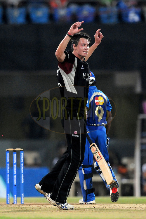 Adam Dibble of Somerset celebrate a wicket during the 2nd Semi Final of the NOKIA Champions League T20 ( CLT20 ) between Somerset and the Mumbai Indians held at the M. A. Chidambaram Stadium in Chennai , Tamil Nadu, India on the 8th October 2011..Photo by Pal Pillai/BCCI/SPORTZPICS
