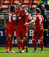 David Mooney of Leyton Orient (centre) celebrates scoring his team's fourth goal to make it 4-1 during the Sky Bet League 1 match at the Matchroom Stadium, London<br /> Picture by David Horn/Focus Images Ltd +44 7545 970036<br /> 22/11/2014
