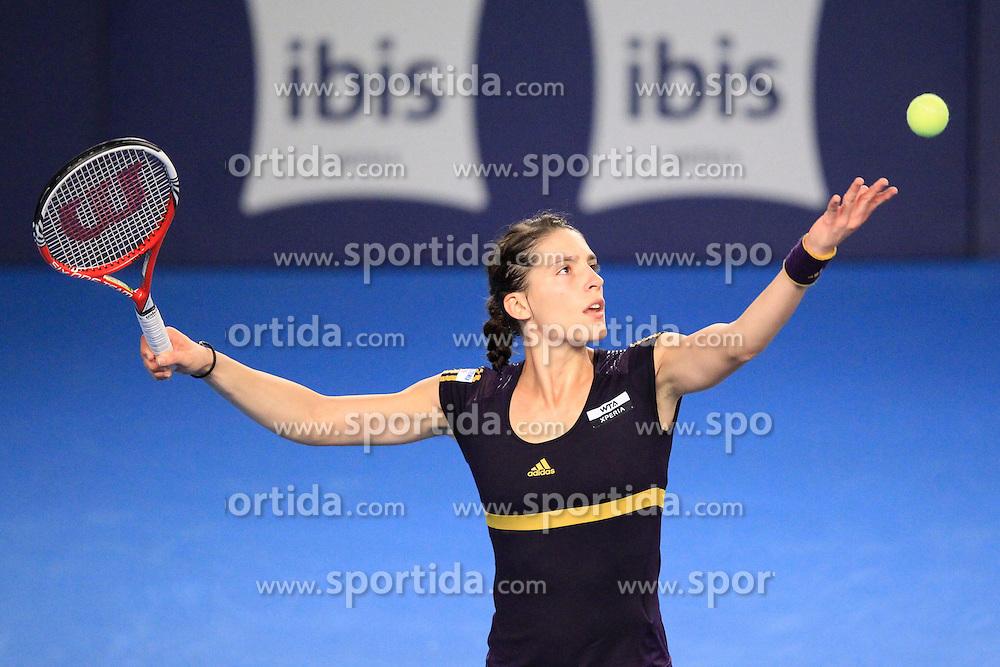 17.10.2012, CK Sports Center, Kockelscheuer, LUX, WTA, BGL BNP Paribas Luxemburg Open, im Bild Aufschlag Andrea PETKOVIC (GER/ Deutschland) // during the WTA BGL BNP Paribas Luxembourg Open at the CK Sports Center at Kockelscheuer, Luxembourg on 2012/10/17. EXPA Pictures © 2012, PhotoCredit: EXPA/ Eibner/ Ben Majerus..***** ATTENTION - OUT OF GER *****