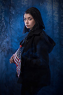 USA, girl, young woman portrait with US flag MR