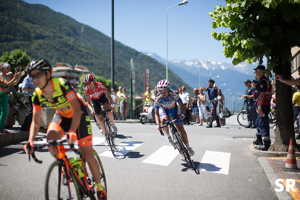 An early breakaway, consisting of Sofie de Vuyst (BEL) of Lotto Soudal Cycling Team, Riejanne Markus (NED) of Liv-Plantur Cycling Team, Shara Gillow (AUS) of Rabo-Liv Cycling Team, Ana Santesteban Gonzalez (ESP) of Ale-Cipollini Cycling Team and Laura Camilla Lozano Ramirez (COL) of S. C. Michela Fanini, formed to grab the intermediate sprint points during the Giro Rosa 2016 - Stage 5. A 77.5 km road race from Grosio to Tirano, Italy on July 6th 2016.