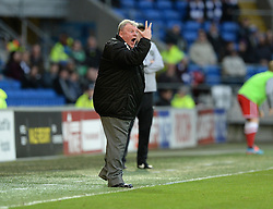 Rotherham United Manager, Steve Evans gives his players directions. - Photo mandatory by-line: Alex James/JMP - Mobile: 07966 386802 - 06/12/2014 - SPORT - Football - Cardiff - Cardiff City Stadium  - Cardiff City v Rotherham United  - Football