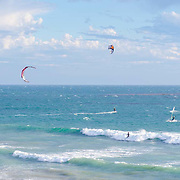 Kite and wind surfing.Malibu, CA. United States