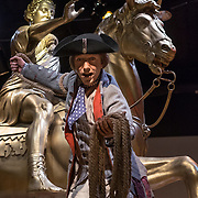 Thursday,  February 23, 2017, The Museum of the American Revolution has installed more than 15 incredibly lifelike figures in a series of historical vignettes that recreate particular moments during the American Revolution. These figures aim to personalize the wide range of people who were involved in the Revolution before the age of photography. Here,  a lifelike figure of a patriot jumping down from a statute of King George. ED HILLE . Staff Photographer