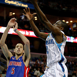 Dec 16, 2009; New Orleans, LA, USA;  New Orleans Hornets guard Darren Collison (2) shoots over Detroit Pistons forward Austin Daye (5) during the first half at the New Orleans Arena. Mandatory Credit: Derick E. Hingle-US PRESSWIRE