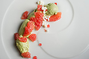 Grapefruit and avocado ice cream with panna cotta spheres at the Spoon Bar and Kitchen on Friday, February 15, 2013 in Dallas, Texas. (Cooper Neill/The Dallas Morning News)