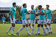 Forest Green Rovers Christian Doidge(9) scores a goal 1-0 and celebrateswith his team mates during the EFL Sky Bet League 2 match between Forest Green Rovers and Swindon Town at the New Lawn, Forest Green, United Kingdom on 25 August 2018.