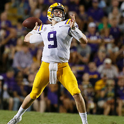 Sep 8, 2018; Baton Rouge, LA, USA; LSU Tigers quarterback Joe Burrow (9) throws a touchdown pass on the final play of the second quarter of a game against the Southeastern Louisiana Lions at Tiger Stadium. Mandatory Credit: Derick E. Hingle-USA TODAY Sports