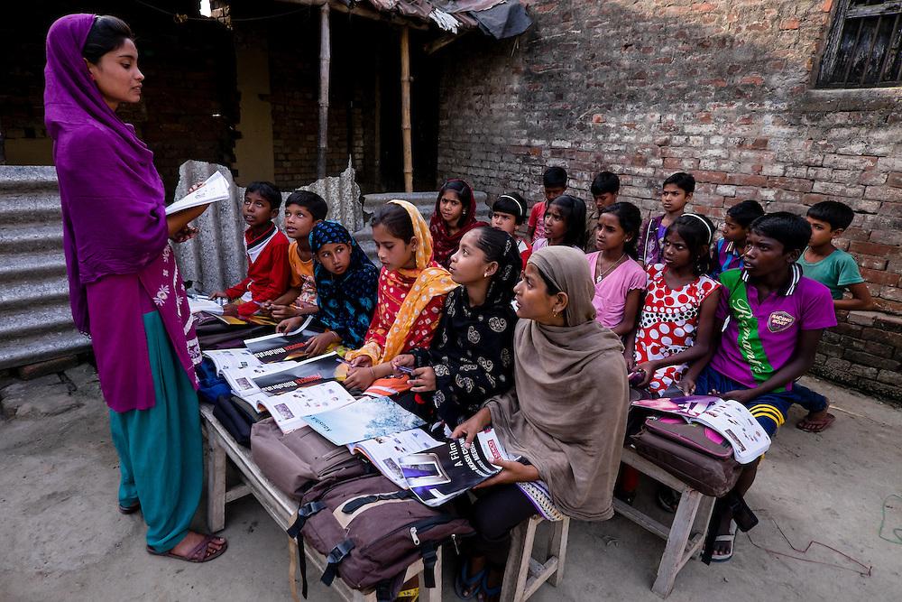 students learn in Ananda Siksha Niketan ( home of joyful learning ), Bhabta, Murshidabad, West Bengal, India, on  April 11, 2015.<br /> Photo by Oren Nahshon