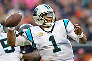 CHICAGO, IL - OCTOBER 22:  Cam Newton #1 of the Carolina Panthers throws a pass during a game against the Chicago Bears at Soldier Field on October 22, 2017 in Chicago, Illinois.  The Bears defeated the Panthers 17-3.  (Photo by Wesley Hitt/Getty Images) *** Local Caption *** Cam Newton