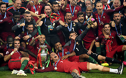 Cristiano Ronaldo of Portugal and fellow Portugal players celebrate Winning the Uefa European Championship with the Henri Delaunay Trophy  - Mandatory by-line: Joe Meredith/JMP - 10/07/2016 - FOOTBALL - Stade de France - Saint-Denis, France - Portugal v France - UEFA European Championship Final