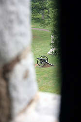 July 2007: Viw out of gun slot in a tower at the Chickamauga National Park.  Attractions near Chattanooga Tennessee. Point Park, National Park Service - Lookout Mountain, TN.