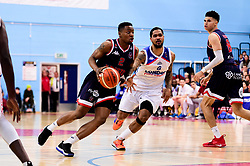 Panos Mayindombe of Bristol Flyers is marked by Ed Lucas of London City Royals - Photo mandatory by-line: Ryan Hiscott/JMP - 26/04/2019 - BASKETBALL - SGS Wise Arena - Bristol, England - Bristol Flyers v London City Royals - British Basketball League Championship