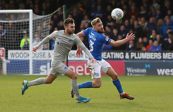 Dan Butler of Peterborough United in action with Ben Close of Portsmouth - Mandatory by-line: Joe Dent/JMP - 07/03/2020 - FOOTBALL - Weston Homes Stadium - Peterborough, England - Peterborough United v Portsmouth - Sky Bet League One