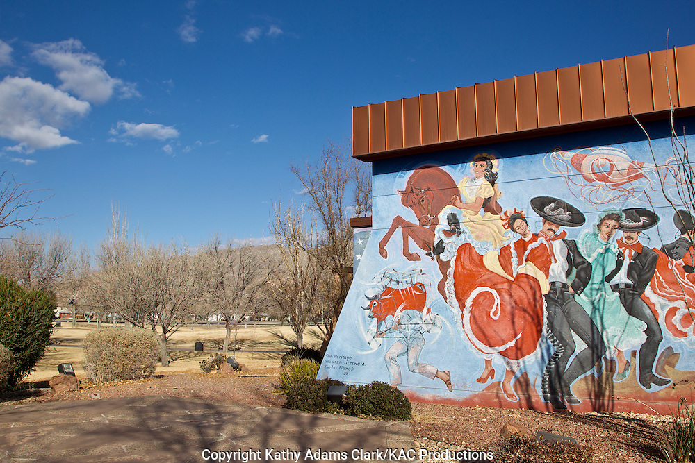 Chamizal National Memorial a park to commemorate the Chamizal Convention, or treaty, of 1963 that gave land to Mexico after the Rio Grande changed its course. Mural by Carlos Flores, entitled Our Heritage, shows  dancers, and Native American heritage.