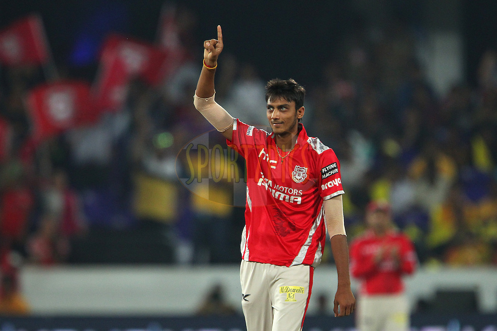 Akshar PATEL of the Kings XI Punjab celebrates the wicket of Dwayne BRAVO of the Chennai Superkings  during the second semi final match of the Oppo Champions League Twenty20 between the Kings XI Punjab and the Chennai Superkings held at the Rajiv Gandhi Cricket Stadium, Hyderabad, India on the 2nd October 2014<br /> <br /> Photo by:  Ron Gaunt / Sportzpics/ CLT20<br /> <br /> <br /> Image use is subject to the terms and conditions as laid out by the BCCI/ CLT20.  The terms and conditions can be downloaded here:<br /> <br /> http://sportzpics.photoshelter.com/gallery/CLT20-Image-Terms-and-Conditions-2014/G0000IfNJn535VPU/C0000QhhKadWcjYs