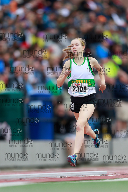 Chloe Hewitt of Westdale SS - Hamilton competes in the 800 metre heats at the 2013 OFSAA Track and Field Championship in Oshawa Ontario, Saturday,  June 8, 2013.<br /> Mundo Sport Images/ Geoff Robins