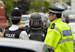 © Licensed to London News Pictures. 31/05/2014; Bristol, UK.  Police shut roads as Bomb Disposal team investigate a car on a driveway in Cassell Road in the Fishponds area.  Reports were that the car smelt strongly of petrol.  Hundreds of people were evacuated from their homes.<br /> Photo credit: Simon Chapman/LNP