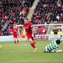 Aberdeen v Celtic, SPrem, 25th February 2018<br /> <br /> Aberdeen v Celtic, SPrem, 25th February 2018 &copy; Scott Cameron Baxter | SportPix.org.uk<br /> <br /> Stevie May races ahead of Ntcham.