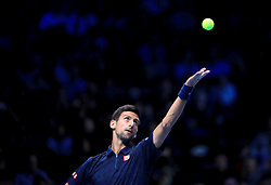 Serbia's Novak Djokovic in action against Austria's Dominic Thiem in the 3rd Round during day one of the Barclays ATP World Tour Finals at The O2, London.